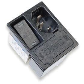 Strømforsyningsfilter med integreret 2-polet switch, 2 sikringer og 2-vejs spændingsvælger