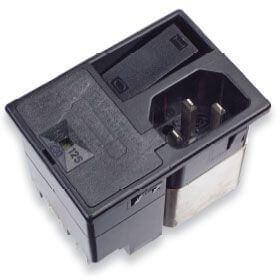Strømforsyningsfilter med integreret 2-polet kontakt, 2 sikringer og 4-vejs spændingsvælger