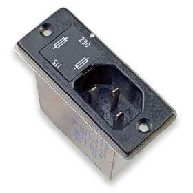 Strømforsyningsfilter med 2 sikringer og 2-vejs spændingsvælger